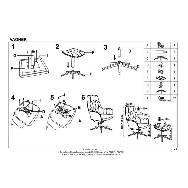 Кресло с подставкой для ног Halmar Vagner | Темно-розовый / черный - 2