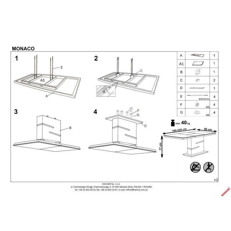 Стол раскладной Halmar Monaco | Белый / Серый - 2