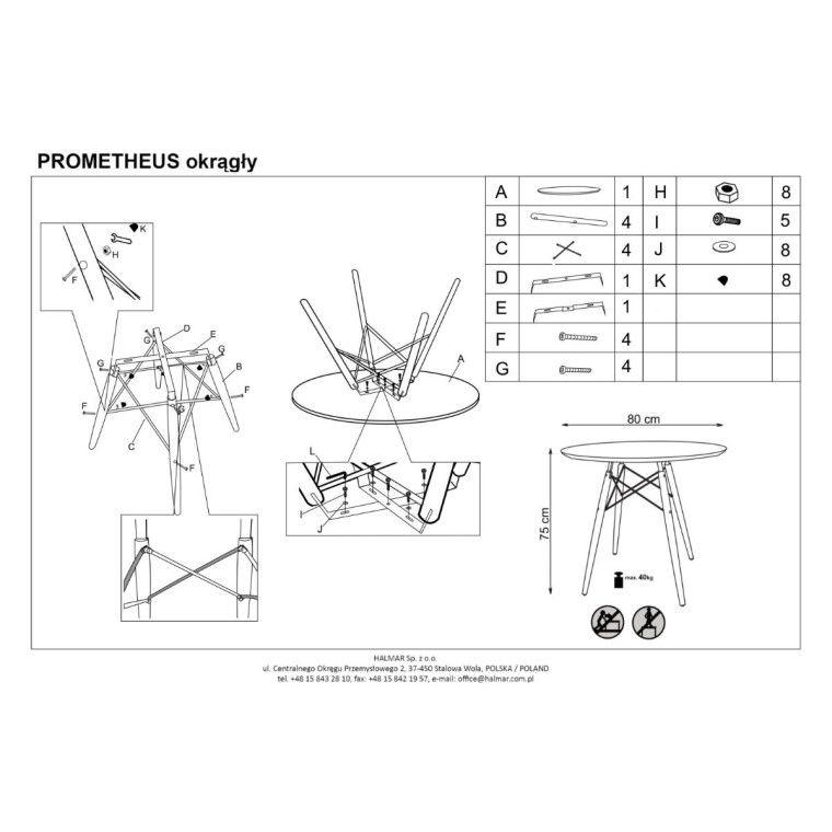 Стол обеденный Halmar Prometheus круглый | Белый - 2