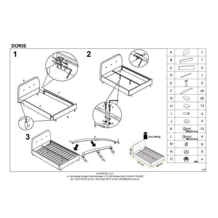 Кровать Halmar Doris | 160х200 / Серый - 3