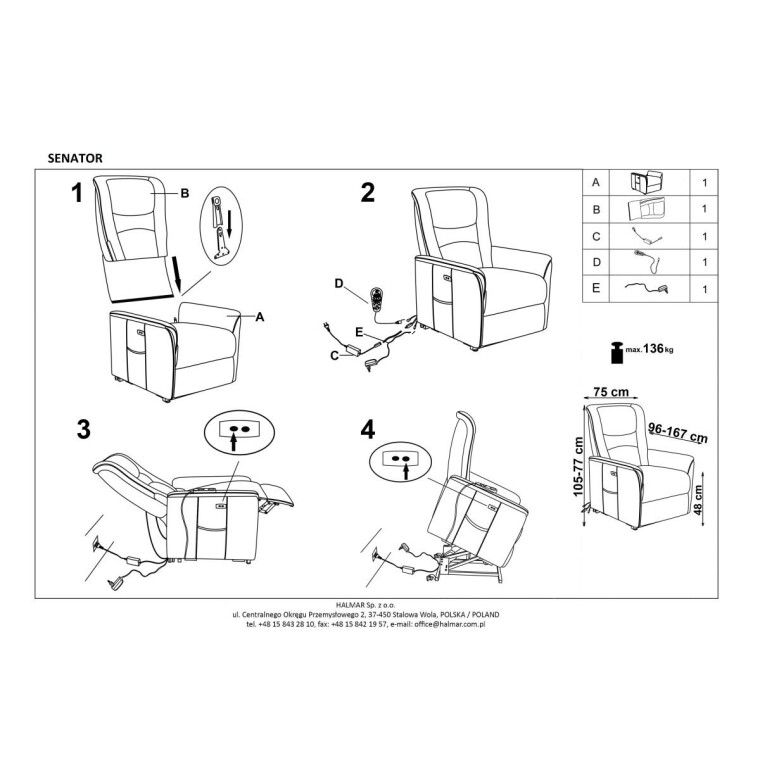 Кресло с подогревом и массажем Halmar Senator | Бежевый - 2