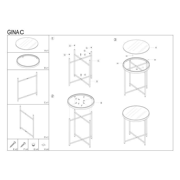 Столик журнальный  Signal Gina C | Медь - 4