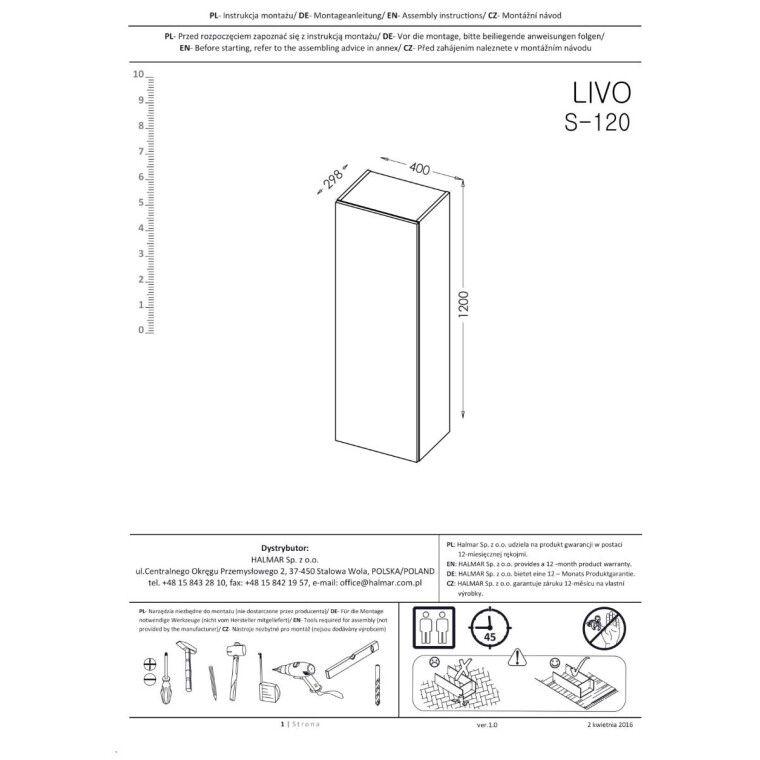 Пенал навесной Halmar Livo S-120 | Антрацит / дуб Вотан - 5