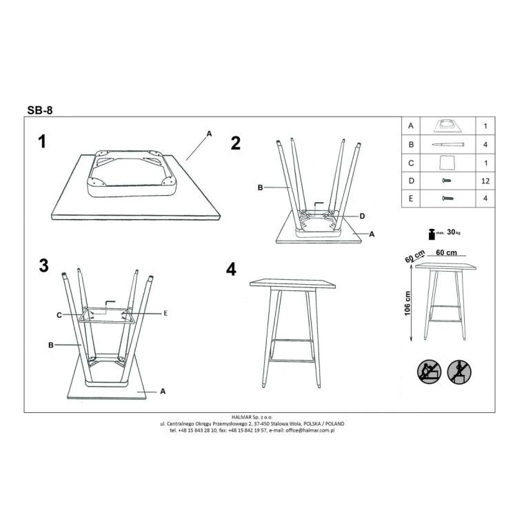 Стол барный Halmar SB-8 | Медный - 2