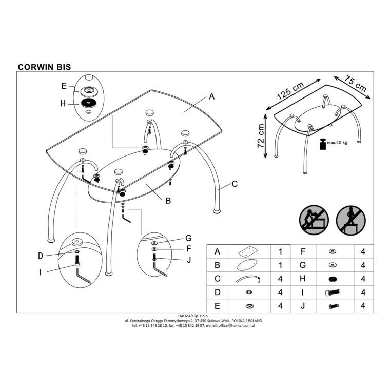 Стол обеденный Halmar Corwin Bis | Прозрачный - 2