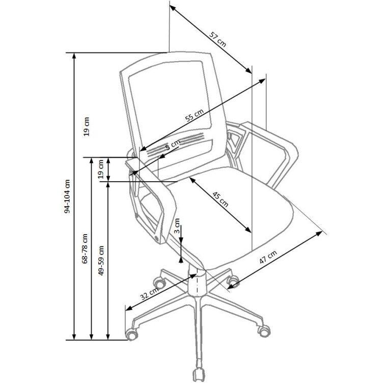 Кресло поворотное Halmar Ascot | Черный / Серый / Белый - 3