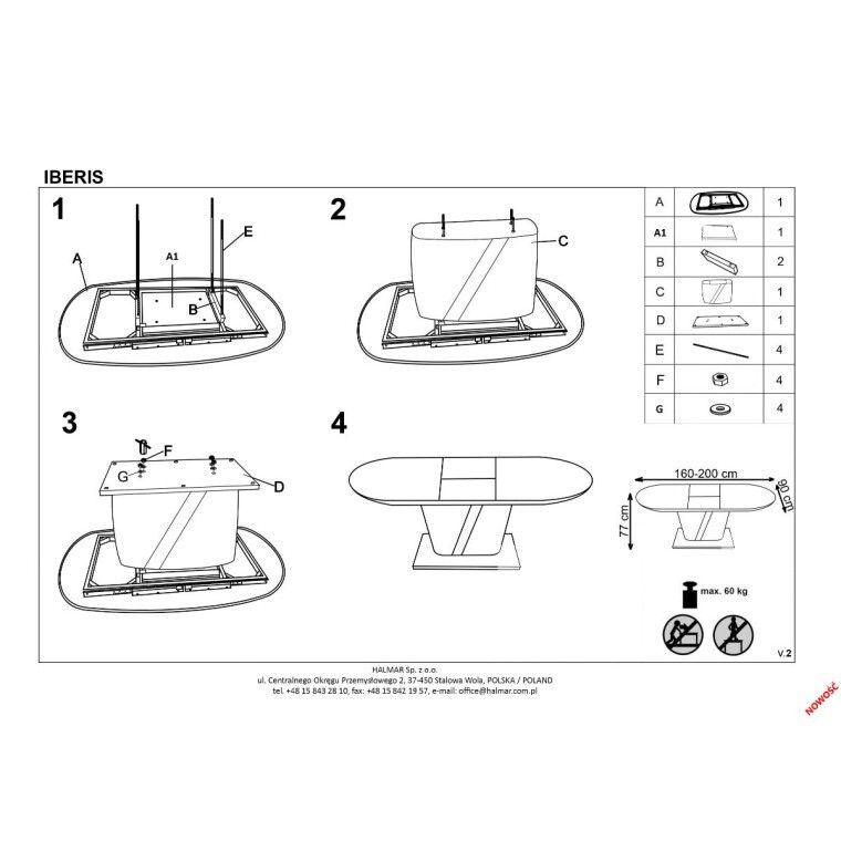 Стол раскладной Halmar Iberis | Кремовый - 2