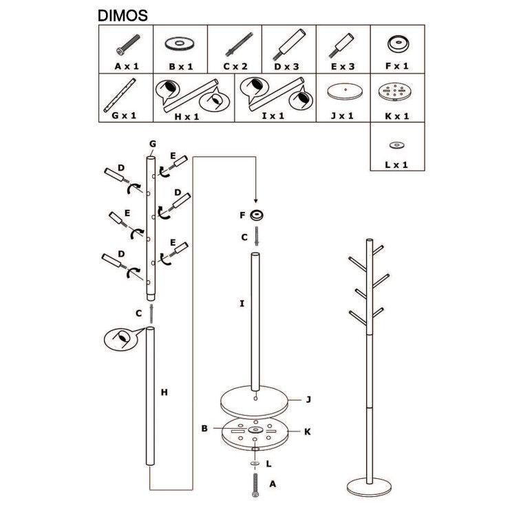 Вешалка Signal Dimos | Белый / бук - 2