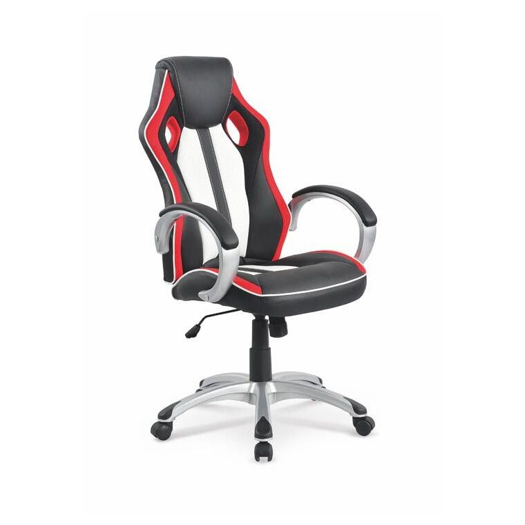 Кресло поворотное Halmar Roadster  | Черный / Красный / Белый фото