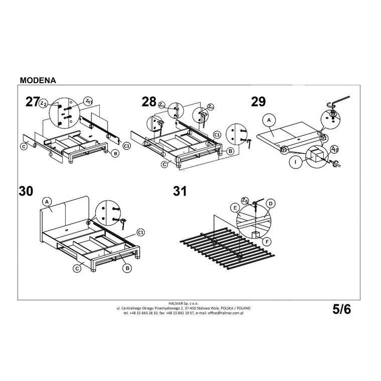 Кровать Halmar Modena   140х200 / Серый - 6