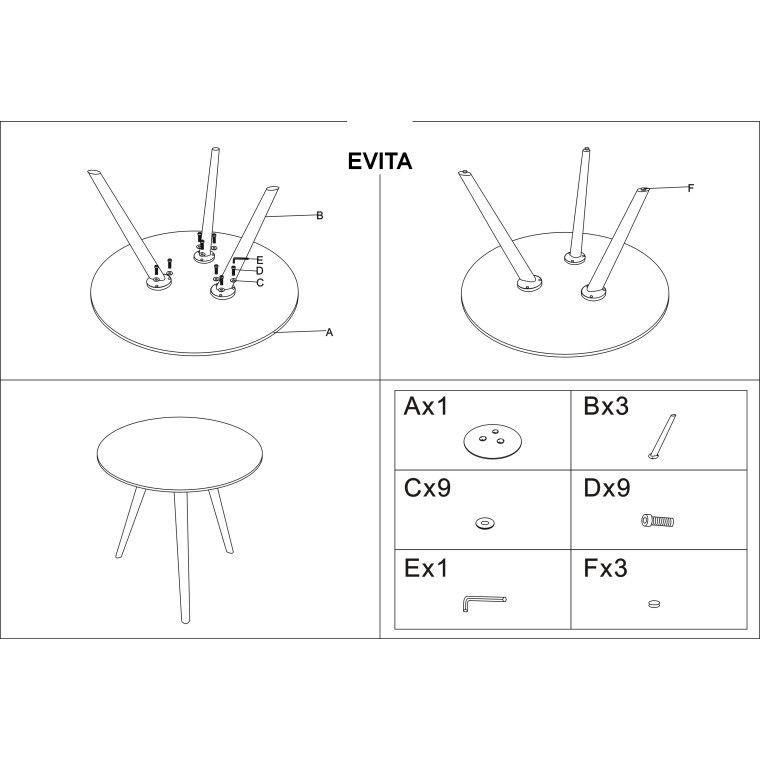Стол обеденный Signal Evita | Серый / белый - 4