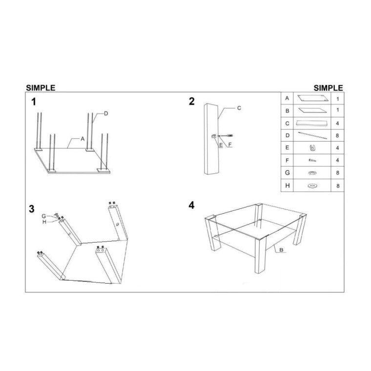 Стол журнальный Halmar Simple H квадратный | Прозрачный / Белый - 2