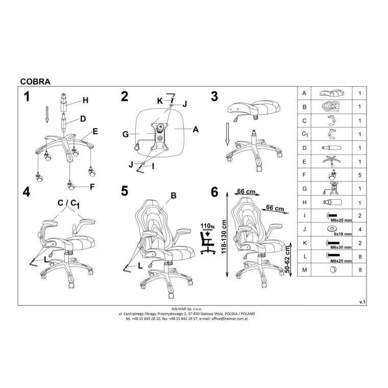 Кресло поворотное Halmar Cobra | Черный / оранжевый - 3