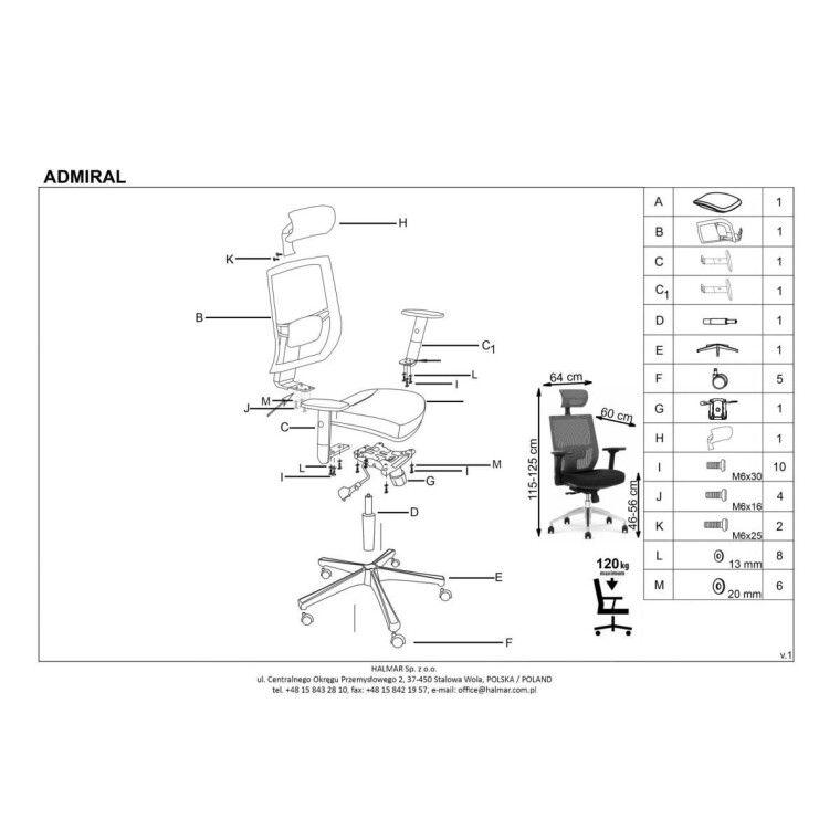Кресло поворотное Halmar Admiral | Серый / Черный - 3