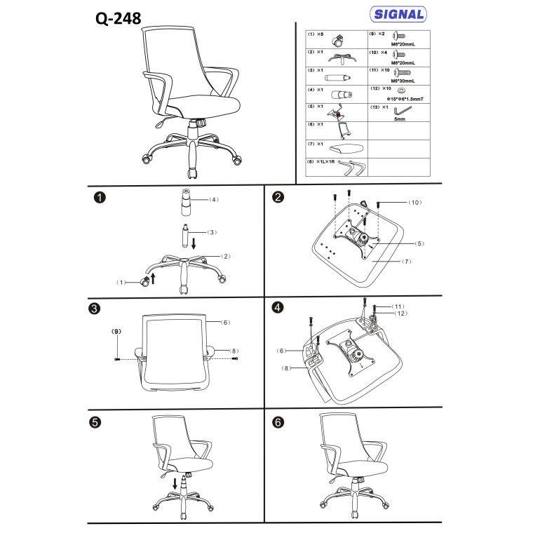 Кресло поворотное Signal Q-248 | Черный / зеленый фото - 2