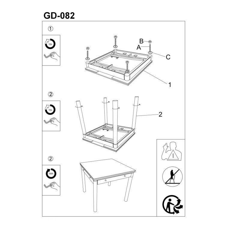 Cтол обеденный раскладной Signal GD-082 | Фиолетовый - 4