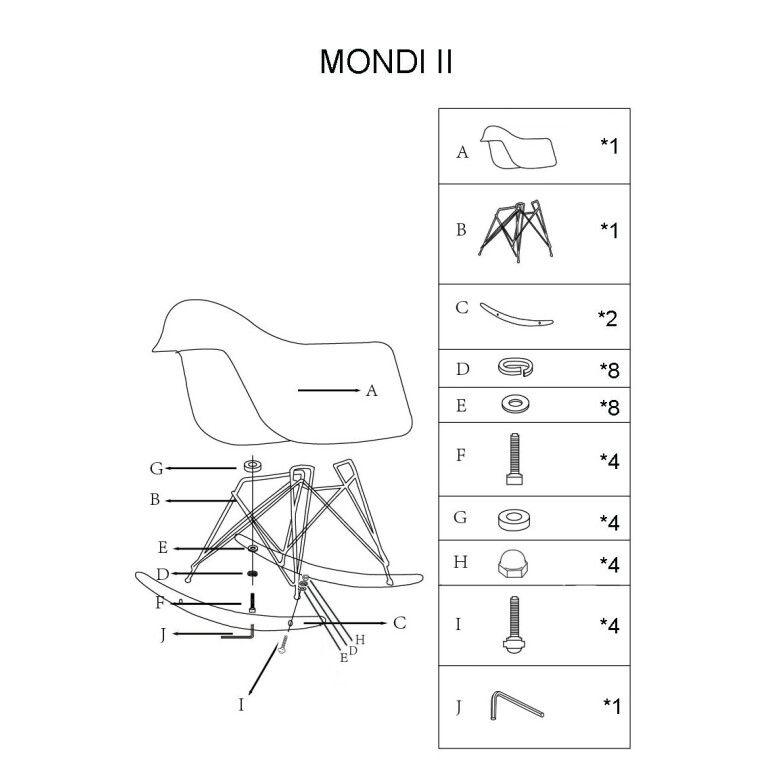Кресло-качалка Signal Mondi II | Белый / бук - 4