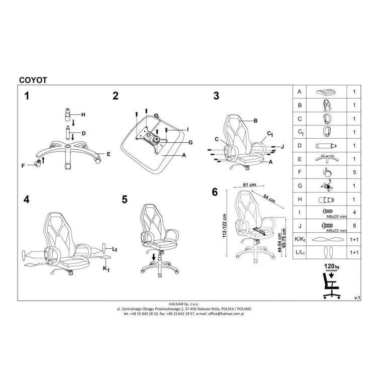 Кресло поворотное Halmar Coyot | Черный / Синий - 3