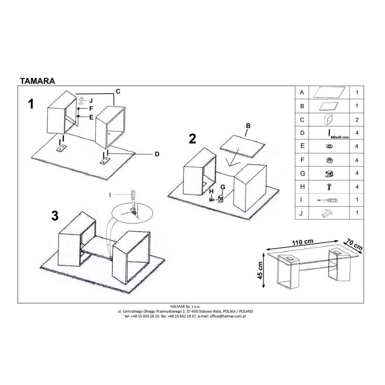 Стол журнальный Halmar Tamara | Прозрачный / дуб сонома - 2