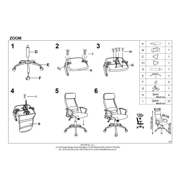 Кресло поворотное Halmar Zoom | Серый - 3