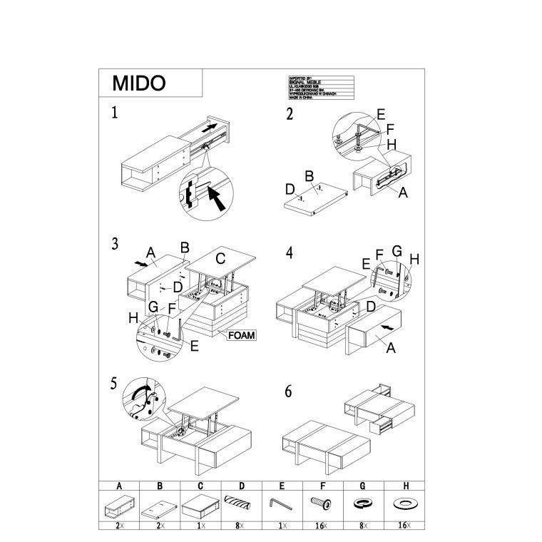 Столик журнальный Signal Mido | Белый - 3