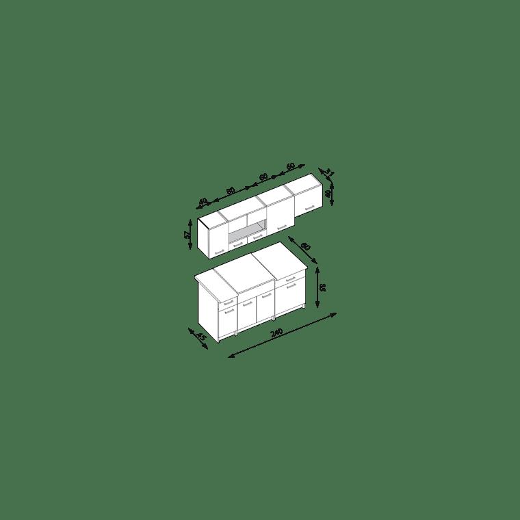 Кухонный гарнитур Halmar Alina 240 | Вяз пьемонт / дуб молочный - 2