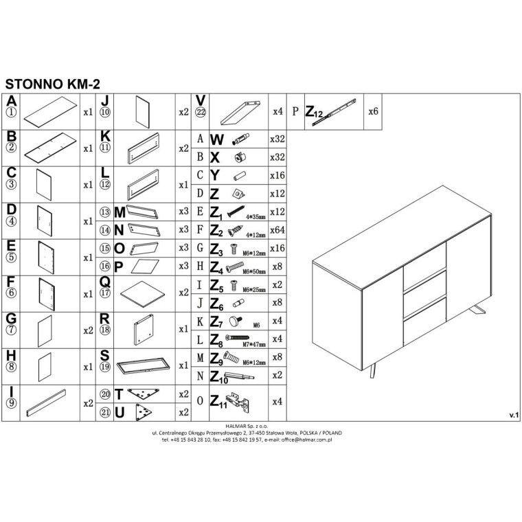 Комод Halmar Stonno КМ2 | Белый / бетон - 2