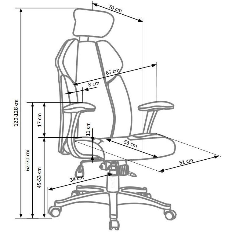 Кресло поворотное Halmar Chrono | Черный / белый - 3