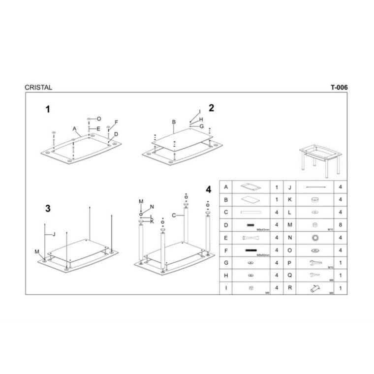 Стол обеденный Halmar Cristal | Прозрачный / черный - 2