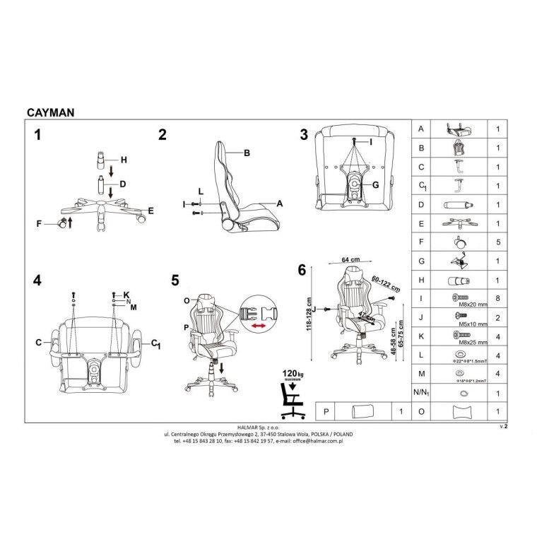 Кресло поворотное Halmar Cayman | Серый / Бирюзовый - 11