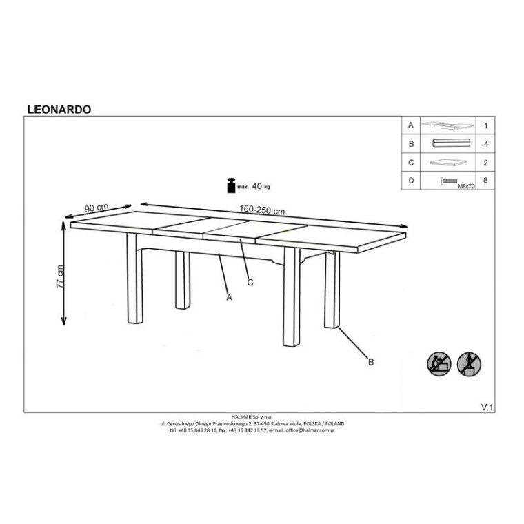 Стол раздвижной Halmar Leonardo | Дуб медовый / белый - 7