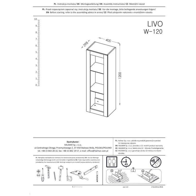 Витрина навесная Halmar Livo W-120   Антрацит / дуб Вотан - 4