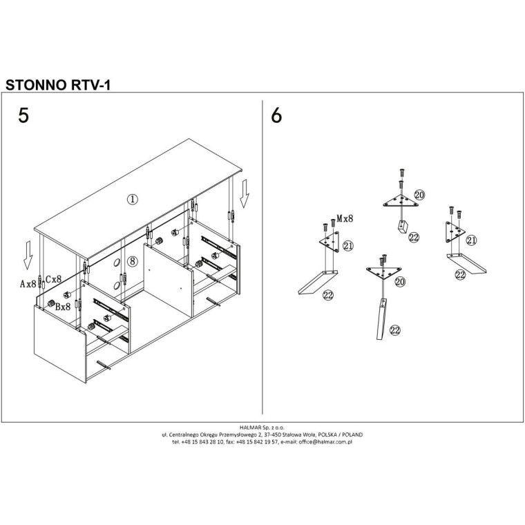 Тумба под ТВ Halmar Stonno RTV1 | Белый / бетон - 8