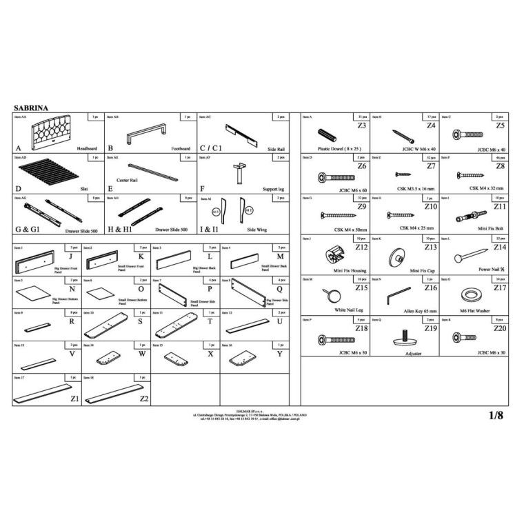 Кровать Halmar Sabrina | 160х200 / Серый - 2