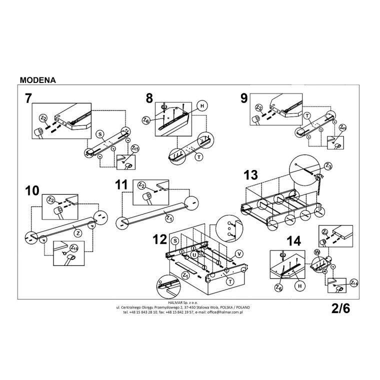 Кровать Halmar Modena   140х200 / Серый - 2