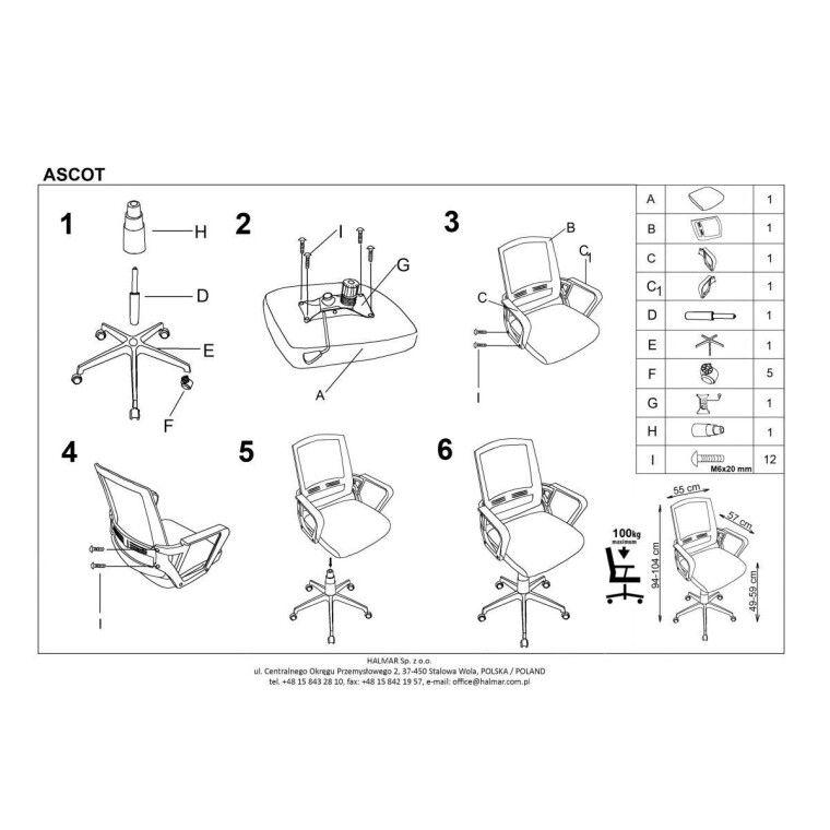 Кресло поворотное Halmar Ascot | Черный / Серый / Белый - 4
