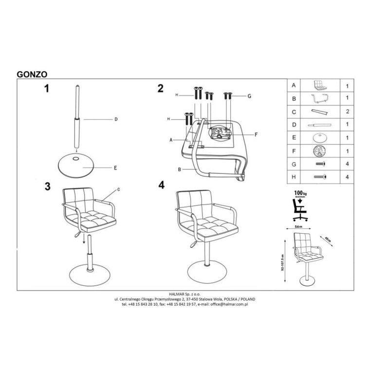Кресло поворотное Halmar Gonzo | Розовый - 3