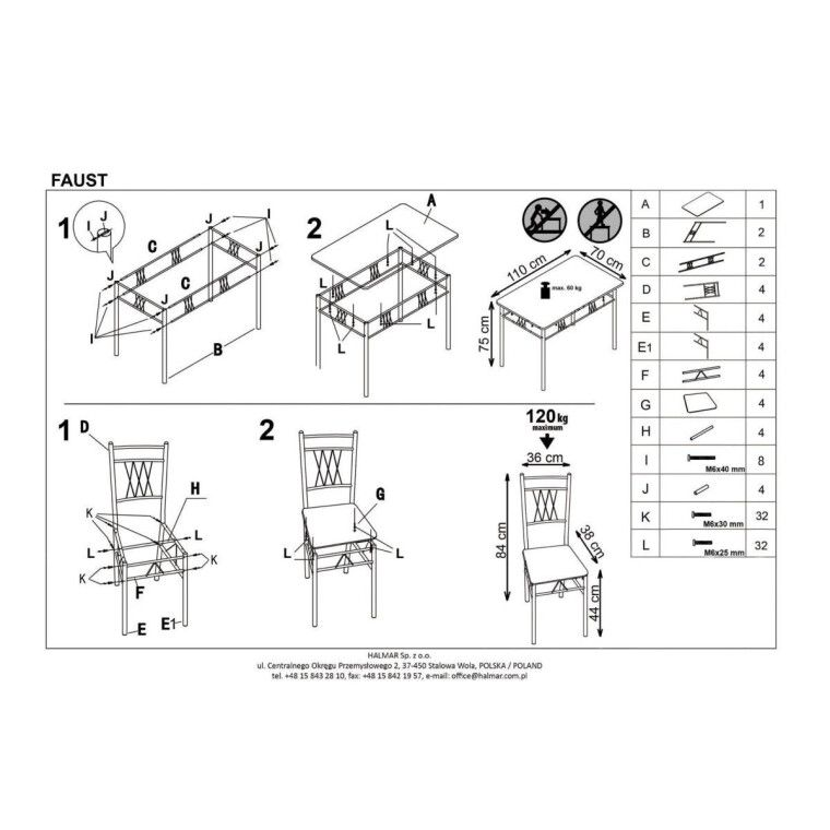 Набор мебели столовой Halmar Faust | Дуб сонома - 2