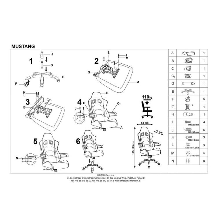 Кресло поворотное Halmar Mustang | Оранжевый / черный - 3