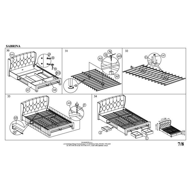 Кровать Halmar Sabrina | 160х200 / Серый - 14