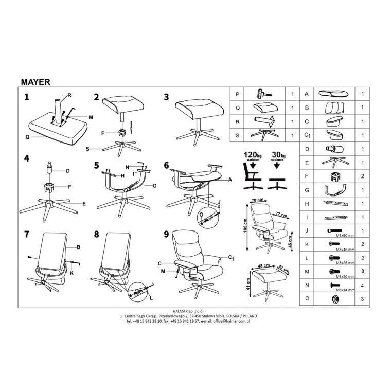 Кресло с подставкой для ног Halmar Mayer   Кремовый - 2