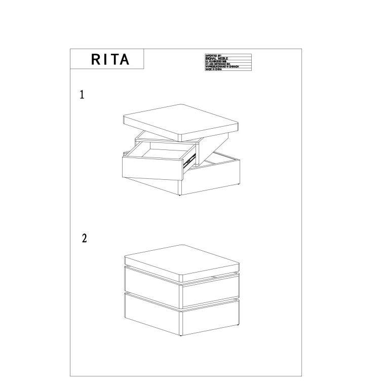 Журнальный стол Signal Rita | Белый / дуб - 2