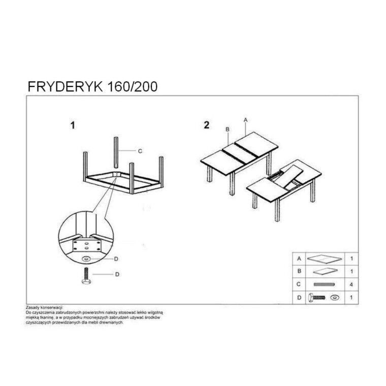 Стол раскладной Halmar Fryderyk | 80х160 / Темный орех - 2