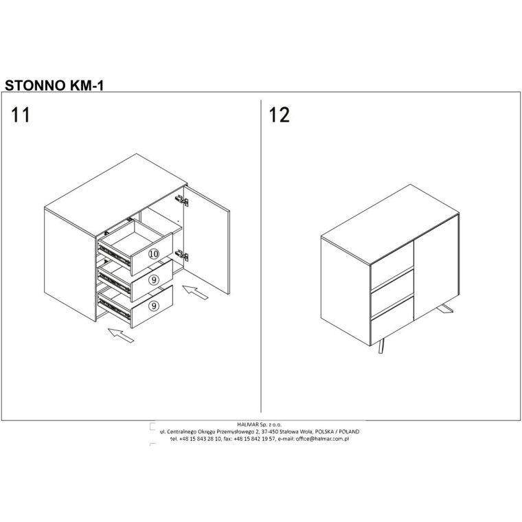 Комод Halmar Stonno КМ1 | Белый / бетон - 8