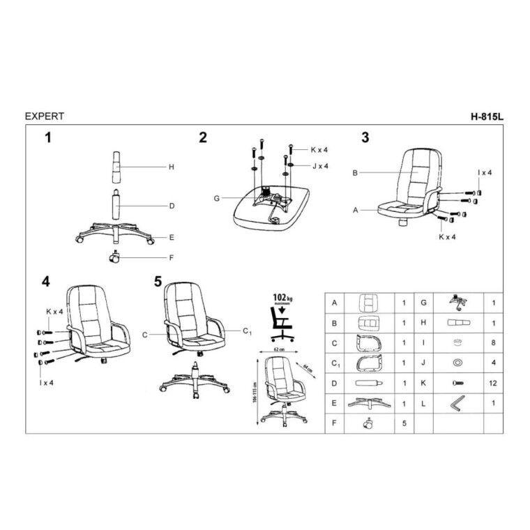 Кресло поворотное Halmar Expert   Черный / Натуральная кожа - 4