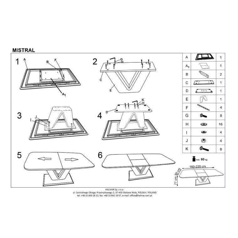 Стол раскладной Halmar Mistral | Белый - 2
