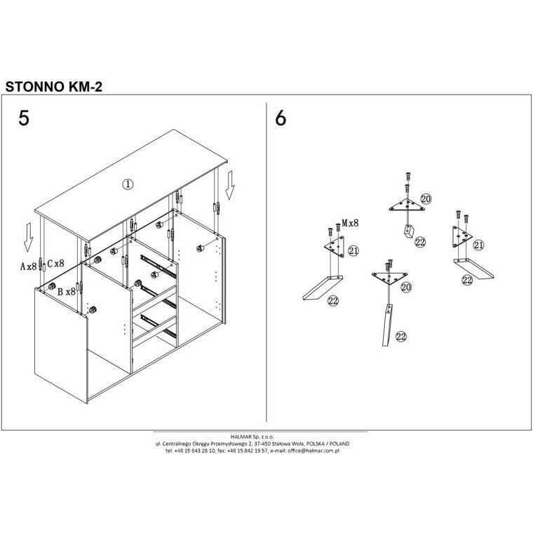 Комод Halmar Stonno КМ2 | Белый / бетон - 5