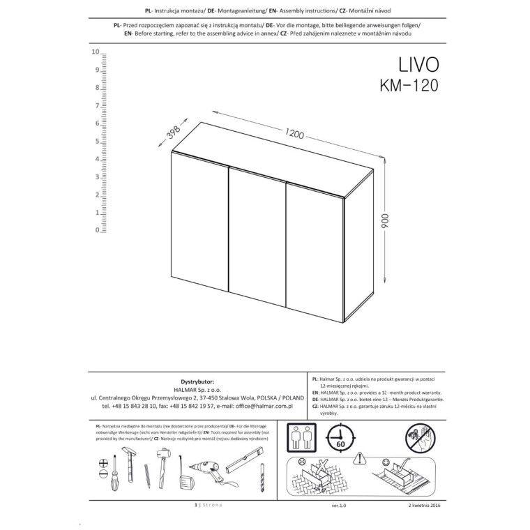Комод подвесной Halmar Livo KM-120 | Черный - 4