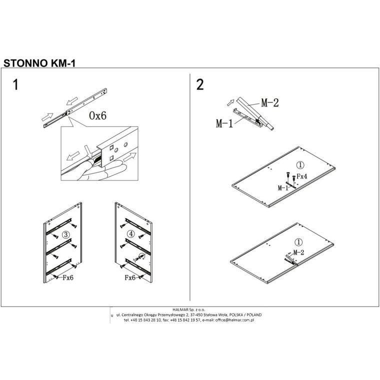 Комод Halmar Stonno КМ1 | Белый / бетон - 3
