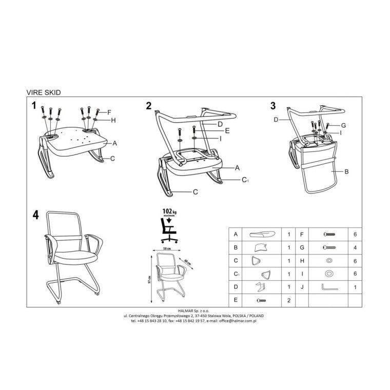Кресло офисное Halmar Vire Skid    Черный - 3